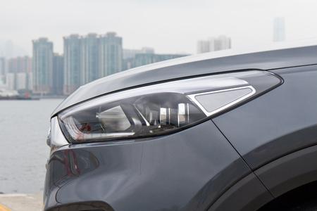 facelift: Hong Kong, China Aug 26 2015 : Hyundai Tucson Facelift 2015 Head Light on Aug 26 2015 in Hong Kong. Editorial