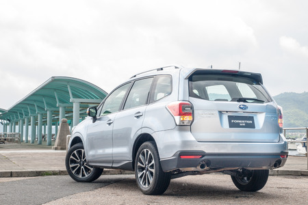 forester: Hong Kong, China May 6, 2016 : Subaru Forester 2.0 XT 2016 Test Drive Day on May 6 2016 in Hong Kong.