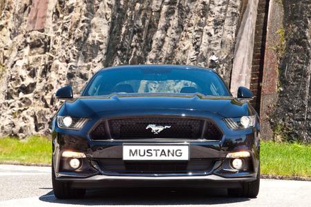 mustang gt: Hong Kong, China July 21, 2016 : Ford Mustang 5.0 V8  2016 Test Drive Day on July 21 2016 in Hong Kong.