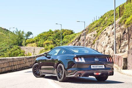 v8: Hong Kong, China July 21, 2016 : Ford Mustang 5.0 V8  2016 Test Drive Day on July 21 2016 in Hong Kong.