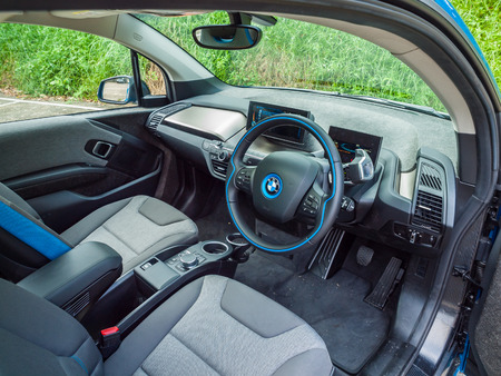 i3: Hong Kong, China Oct 24, 2016 :BMW i3 90Ah Interior on Oct 24 2016 in Hong Kong.