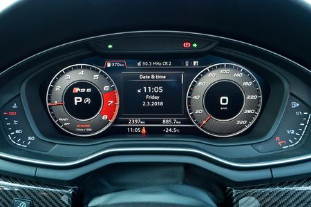 Hong Kong, China March 2, 2018 : Audi RS5 2018 Dashboard March 2 2018 in Hong Kong. Editorial