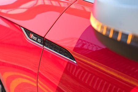 Hong Kong, China March 2, 2018 : Audi RS5 2018 RS Label March 2 2018 in Hong Kong. Editorial