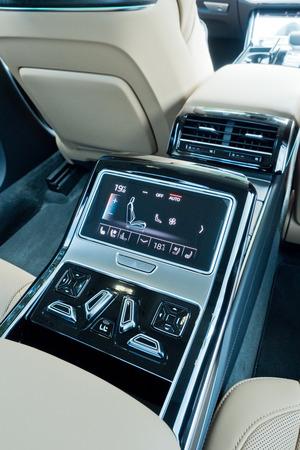Hong Kong, China June 28, 2018 : Audi A8 2018 Rear Seat Dashboard June 28 2018 in Hong Kong. Editorial