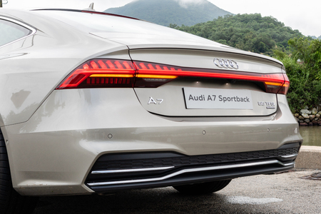 Hong Kong, China Aug 15, 2018 : Audi A7 Sportback 2018 back light Aug 15 2018 in Hong Kong.