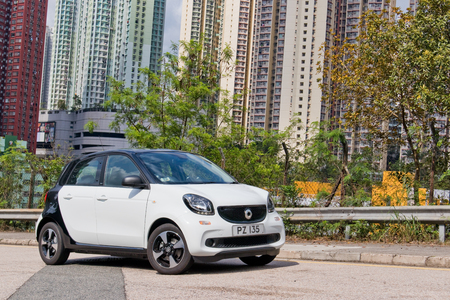 Hong Kong, China March 21, 2019 : Smart forfour EV Test Drive Day March 21 2019 in Hong Kong.