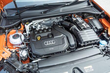 Hong Kong, China Oct, 2019 : Audi Q3 Engine on Oct 21 2019 in Hong Kong.