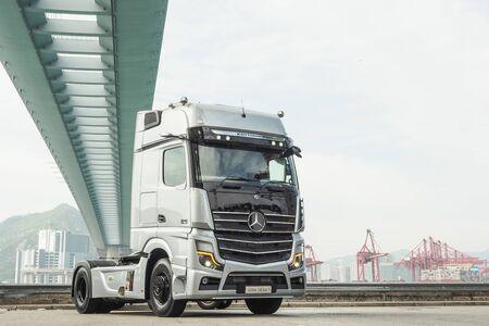 Hong Kong, China Oct, 2019 : Mercedes-Benz Actros Test Drive Day on Oct 31 2019 in Hong Kong. Redakční