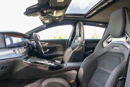 Hong Kong, China July, 2019 : Mercedes-AMG GT 4-door Interior on July 5 2019 in Hong Kong.
