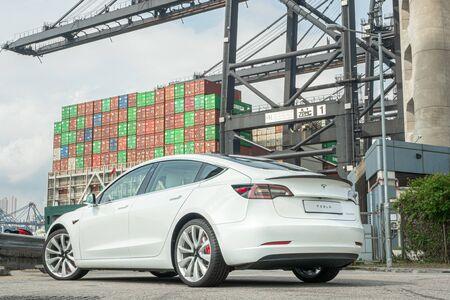 Hong Kong, China July, 2019 : Tesla Model 3 Test Drive Day on Aug 13 2019 in Hong Kong.