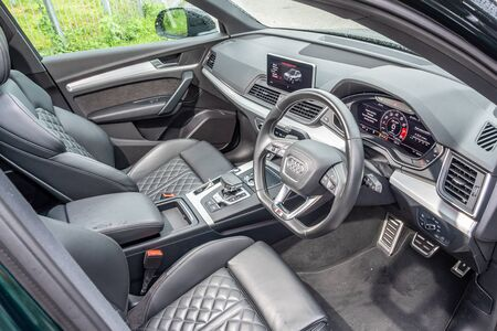 Hong Kong, China July, 2019 : Audi SQ5 Interior on July 10 2019 in Hong Kong.