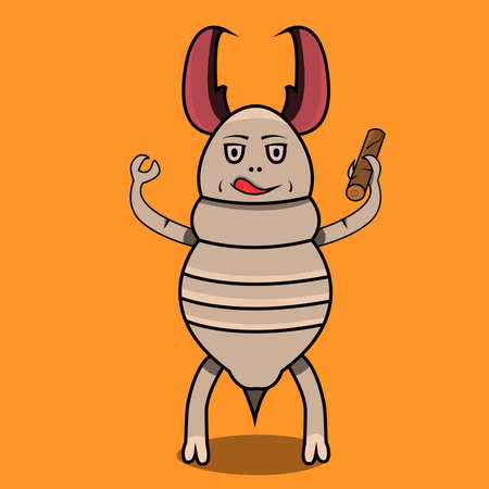 Vector Illustration Of Mascot Termite eating Wood and Orange Color Background.