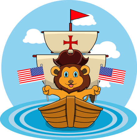 Happy Columbus Day America With Cute Lion And Ship In Sea, Cartoon, Mascot, Animals, Character, Vector and Illustration.