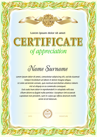 stock certificate: Certificate blank template