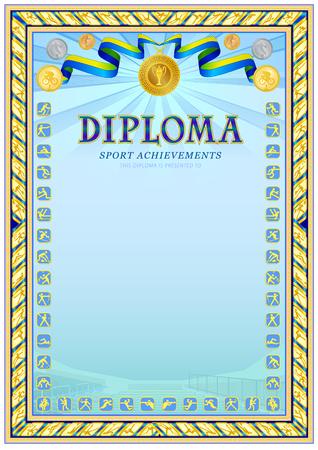 Sport achievements diploma blank template