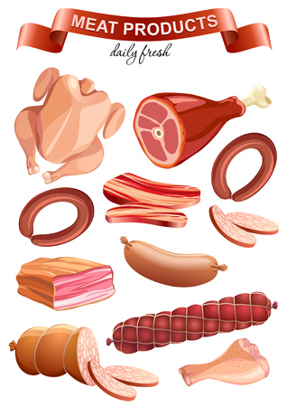 Colorful meat products collection for food market advertising design. Isolated on white  イラスト・ベクター素材