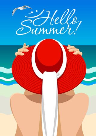 Sea relax illustration. Summer time. Woman silhouette in red hat on the seaside background. Standard-Bild - 138039617