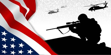 Military illustration. USA flag fragment, soldir black silhouette with sniper rifle and helicopters above.