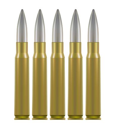 Ammo cartridges. Brass cases with silver pointed bullet inside. Isolated on white.