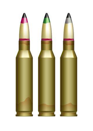 Großkalibrige Kanonenpatronen mit verschiedenfarbig markierten Kugeln. Vektorgrafik