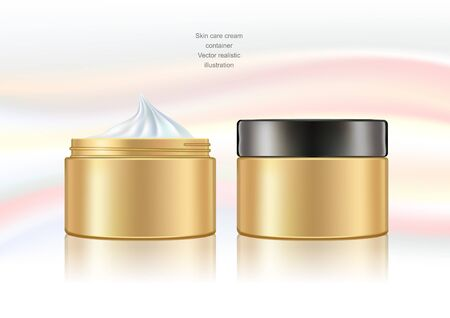 Beauty cream container. Opened and closed. Gold surface effect.