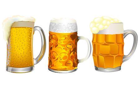 Colorful detailed glass mug of beer Ilustração