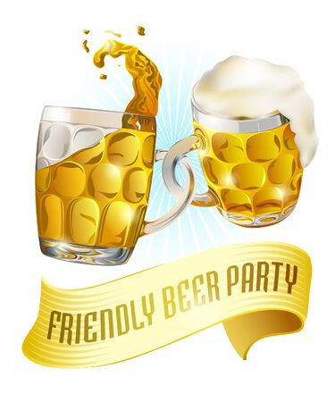 Beer party label. Invitation  template for beer festival, holidays or other shared events.