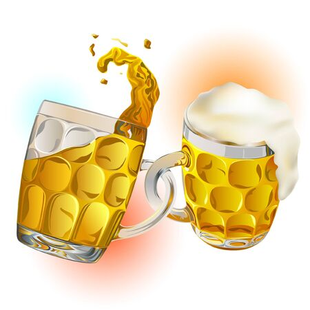 Beer mugs of glass connected as a chain link. This is a friendship party idea. Ilustração