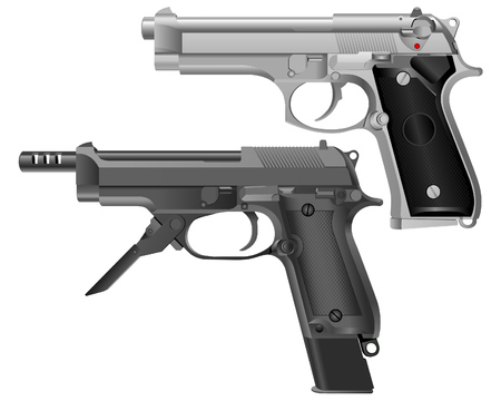 Realistic image of the modern pistol. Two model type