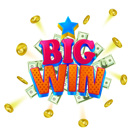 Big win casino banner. Colorful objects as a coins, chips and huge letter signs. Can be used as an announcement game banner