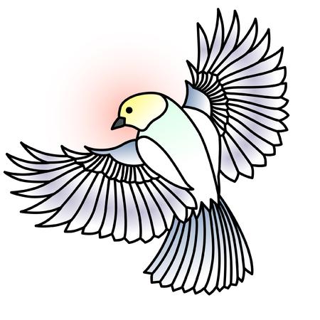 Illustrative lineart bird shaded with soft color blots on white background. Ilustração