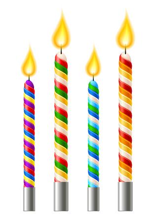 Decorative candles collection for birthday cakes. Ilustração