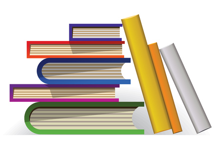 Pile of books image. It can be used in different educational design projects.