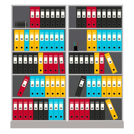 Wall rack with colorful paper folders on