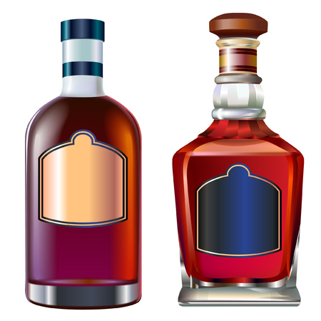 Realistic colorful alcohol bottles set