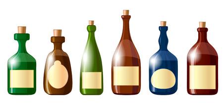 Alcohol bottles icon set isolated on white Ilustração