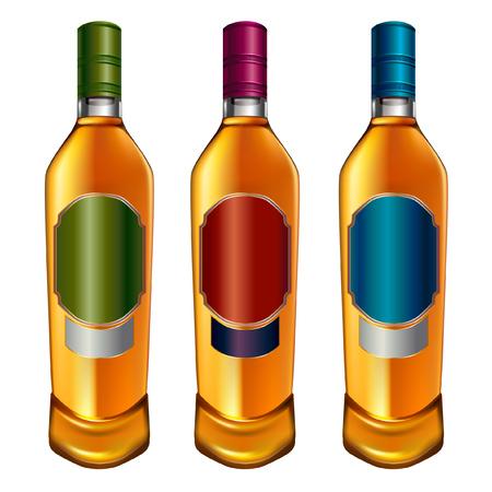 Alcohol bottles set isolated on white Ilustração
