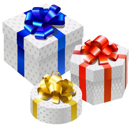 Gift boxes set. Bright gloss decor ribbon, isolated on white Ilustração