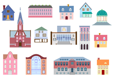 Colorful buildings collection isolated on white. Different styles and construction form.