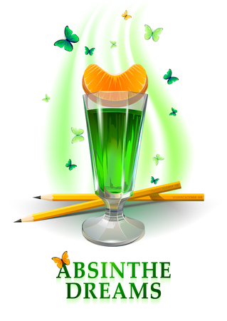 Absinthe dreams illustration. Butterfly around, pencils and abstract green background