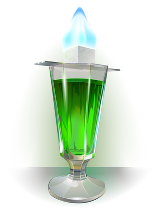 Absinth glass with sugar flame above