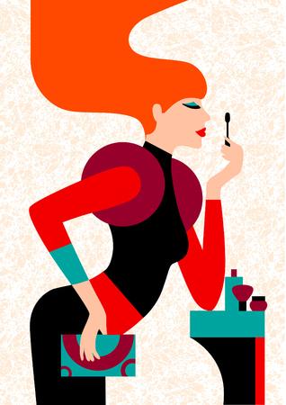 Makeup process. Cartoon style illustration