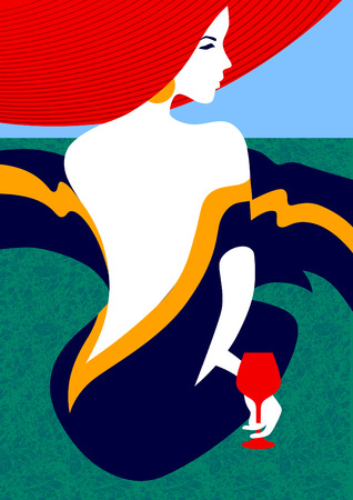 Glamor woman in red hat. Cartoon style illustration