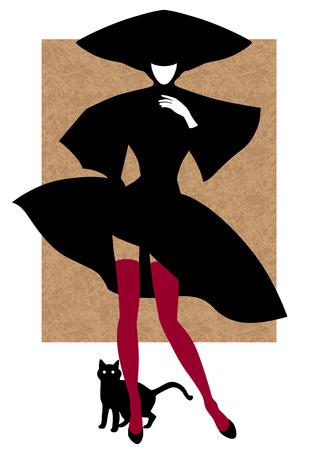 Woman silhouette in black. Black cat is near. Cartoon style illustration