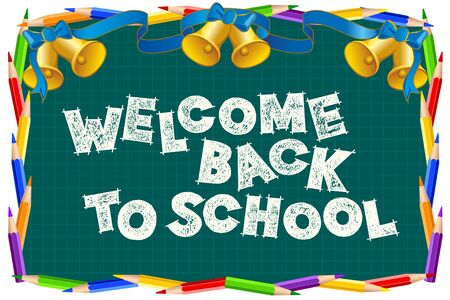 Back to school sign on the blackboard. Chalk letter effect. Study greeting announcement Ilustração