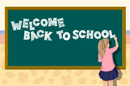 Back to school illustration. A girl near the school writes blackboard. Ilustração