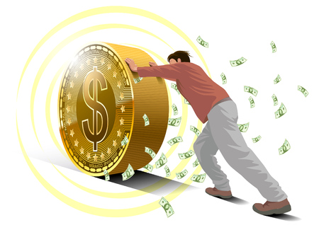 A man rolls a dollar coin with banknotes are blowing up. Financial subject illustration
