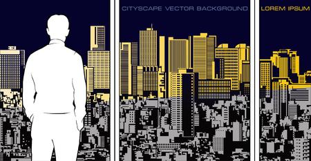 Illustrazione panoramica del paesaggio urbano. Ampia composizione con la figura della siluetta dell'uomo di fronte. Vettoriali