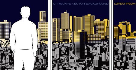 Panoramic cityscape illustration. Wide composition with man silhouette figure in front of.