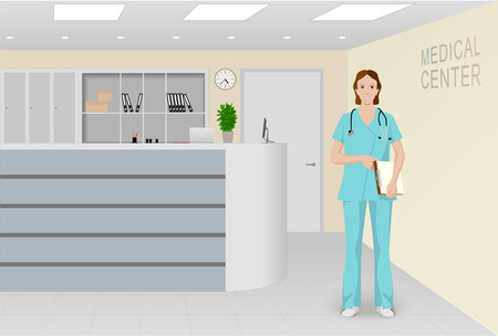 Hospital reception interior. Doctor figure in the composition center. Template for presentations or medical services advertising.